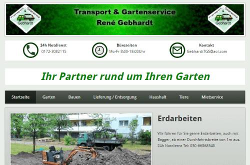 Erstellung einer Wordpress-Website für Transport und Gartenservice René Gebhardt in Berlin