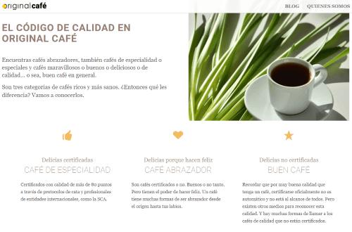 Erstellung einer Wordpress-Website für Original Café - Wie Sie guten Kaffee zu hause zubereiten können (spanisch)